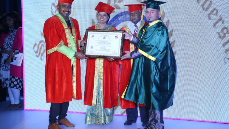 Mr.Sathish Kumar from Ooty received the Gems of Universe & Honourary Doctorate, by St. Mother Therasa University